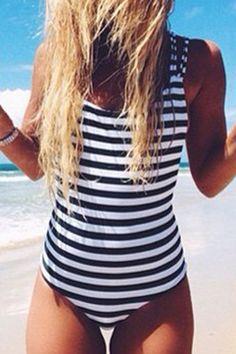 Striped Criss Cross Back One-Piece Swimwear