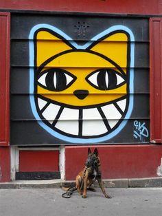 """""""Fais-le malin !"""" (Paris 18e) M. Chat - street art de l'artiste franco-suisse Thoma Vuille. Photo YOUGUIE."""