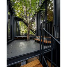 Shipping Container Cabin, Shipping Container Home Designs, Container House Design, Shipping Containers, Container Architecture, Container Buildings, Outdoor Walkway, Outdoor Decor, Teak Flooring