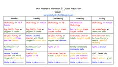 The Master's Hammer and Chisel Meal Plan. Week one.  Hammer & Chisel meal plan. Check out my blog to learn more about the program.