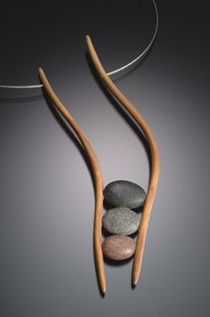 "LOVE IT! | Kathleen Dustin Wearable Art ~ necklace of New Hampshire mountain laurel, polymer faux stones on steel cable  sticks 7""l, cable 20""l  $350  #DoItInNH #NHCraftsmen #NHArt"