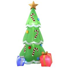 outdoor decorations see more home accents holiday 65 ft h inflatable christmas tree with gifts 36700 the - Lighted Outdoor Christmas Decorations Home Depot