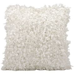 Michael Amini Shimmer Shag White Throw Pillow (20-inch x 20-inch) by Nourison - Free Shipping Today - Overstock.com - 16181493 - Mobile