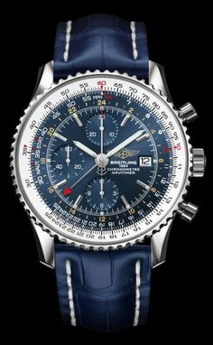 Breitling Navitimer World. Selfwinding chronograph. Steel case. Blue dial. Croco strap, tang-type buckle.