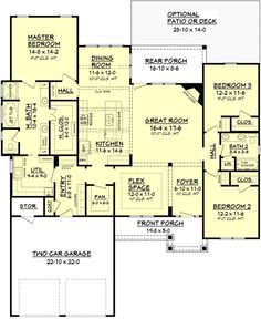 Craftsman Style House Plan - 3 Beds 2 Baths 2136 Sq/Ft Plan #430-91 Floor Plan - Main Floor Plan - Houseplans.com  LOVE the utility room leading to hall way and master bath!