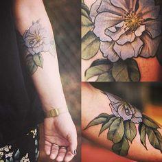 Flower Tattoo, pretty colors. feminine tattoos