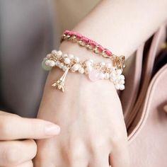 Korean Accessories Lady Elegant Retro Pylon Pendant Pearl Womens Bracelets Korean Accessories, Jewelry Accessories, Korean Jewelry, Asian Style, Pearl Bracelet, Vivienne, Wholesale Jewelry, Diamond Earrings, Fashion Jewelry