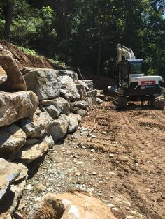 Large Boulder Retaining Wall in Progress...