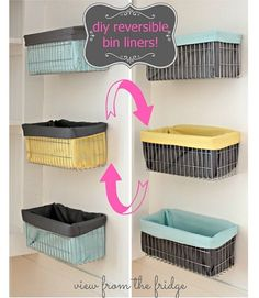 Tutorial: Reversible Wire Bin Liners.   http://sewing.craftgossip.com/tutorial-reversible-wire-bin-liners/2014/02/12/
