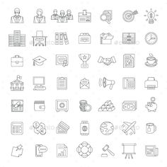 Flat Thin Line Business and Financial Icons — Transparent PNG #coin #outline • Available here → https://graphicriver.net/item/flat-thin-line-business-and-financial-icons/13511010?ref=pxcr