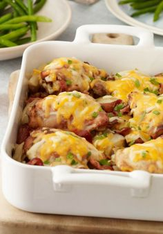 Chicken & Roasted Red Potatoes – This dish will make Grandma come to your house for Sunday dinner. Potatoes, onions, bacon and chicken all baked together and topped with melty cheese.