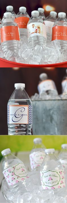 Wedding water bottles decorated with self-adhesive, vinyl labels personalized with a wedding design or monogram, the bride and groom's name and wedding date are a fun way to add a small detail to your wedding reception decorations that will have a big impact on guests. Apply the labels to standard size water bottles and you're set. All you need to do is put the bottles on ice the day of your wedding. Water bottle labels can be ordered at…