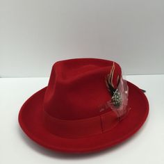 8592ffde2976a Montique Bogard Red Men s Hat 100% Wool Bow Tie Hatband   Feather H-11