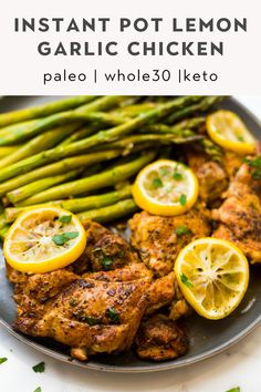 In a rush to make dinner? These lemon garlic chicken thighs are made in the Instant Pot in just 5 minutes! A simple one pot meal that cooks up juicy, tender chicken that's full of delicious flavor. No mess and no fuss! Keto, Paleo, and too! Whole 30 Meal Plan, 21 Day Fix Meal Plan, Dairy Free Keto Recipes, Healthy Recipes, Healthy Meals, Lemon Garlic Chicken Thighs, Whole 30 Recipes, One Pot Meals, Instant Pot