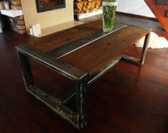 Handmade Reclaimed Wood U0026 Steel Coffee Table By DesignInFocus · Rustic  IndustrialModern ...