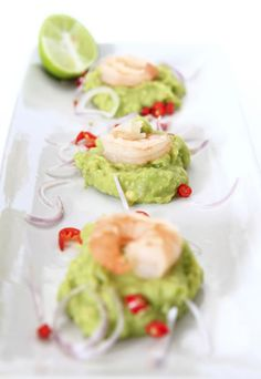 By looking at this shot you can see the understated elegance of this shrimp appetizer. The bright colors give it an appealing, fresh look, a...