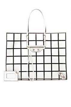 i'd walk around with this #Balenciaga by #NicolasGhesquiere white embossed #handbag! via http://hablandeella.polyvore.com/