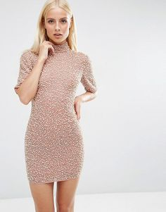 Premium pearl scatter mini body-conscious dress by Asos. Body-Conscious dress by ASOS Collection, Textured woven fabric, All-over pearl embellishment, Fully lined, High neckl...