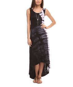 Another great find on #zulily! Black & Charcoal Tie-Dye Maxi Dress by Urban X #zulilyfinds