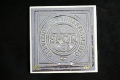 Fine Art Ceramic Coaster of Roman Sewer Cap with the logo SPQR, comes with a smooth yet antique style finish by VPVPhotography on Etsy