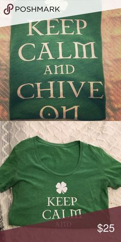 KCCO green st Patrick's day t-shirt Keep calm and chive on...I'm selling this and two sweatshirts I have that are also KCCO so if you would like them all I will give you a great deal Tops Tees - Short Sleeve