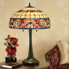 Sipario Large Table Lamp Formally designed table lamp highlighting floral borders of American Art Glass H: 680 W: 460 D: 460 Bulbs: 2 x 60 Fittings: Shade: Glass Painting Designs, Paint Designs, Hand Painted Pottery, Pottery Painting, Large Table Lamps, Stained Glass Lamps, Tiffany Lamps, Glass Art, Bulb
