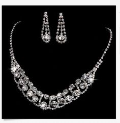 Brilliant Crystal Tennis Necklace Earring Set.  Silver Bridal Jewelry. McKee Jewelry Designs