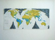 Embroidered World Map Cutout on Paper by yinsteadofi on Etsy