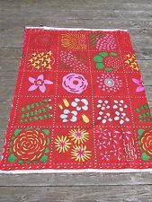 "MARIMEKKO OY VINTAGE COTTON FABRIC- FUJIWO ISHIMOTO-34"" BY 54""-ORANGE w/ FLOWERS"