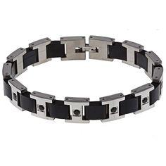 Stainless Steel Men's 1/2ct TDW Diamond Bracelet (Black diamond), Size: 8.5 Inch, Silver