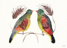 """Green Birds"" by United Thread, out of Massachusetts. Amazing watercolors just saturated with detail."