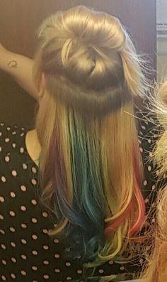 #Rainbowunderlights #rainbowhair #hair  #diy DIY Rainbow Underlights