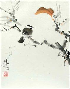 "Chickadee on branch ""Messenger of the Wind"" by Jan Zaremba"