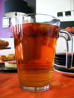 Home made strawberry ice tea