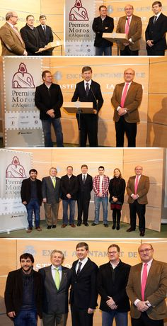 Presentación de los Premios Moros d'Alqueria 2013, en el Ayuntamiento de Castellon, Carlos Perez en representación de Los Moros d'Alqueria, Ernesto Tarragon en representación de la Fundacion Gonell Hermanos, Marta Gallen concejal de Turismo y Alfonso Bataller , alcalde de Castellón