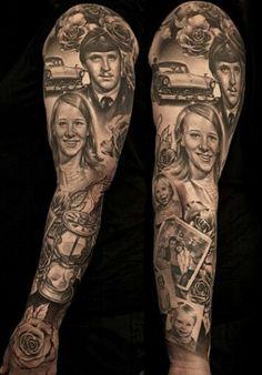 Portraits memory full sleeve.. Black and gray tattoo