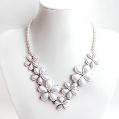 Pearl Flower Bib Necklace  White Pearls  Silver and by GetNoticed