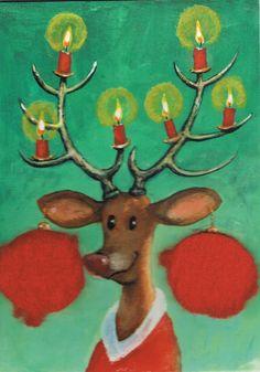 Rendier, Afbeelding Rudi Herzlmeier op postkaart met pluche oorbellen