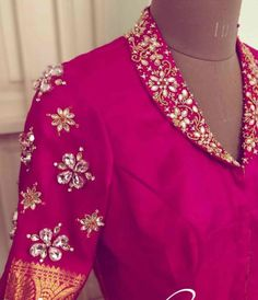 Stunning Aari Work Blouse Designs 2020 For Silk Sarees! Blouse Designs High Neck, Hand Work Blouse Design, Stylish Blouse Design, Designer Blouse Patterns, Pattu Saree Blouse Designs, Fancy Blouse Designs, Bridal Blouse Designs, Blouse Neck Designs, Blouse For Silk Saree