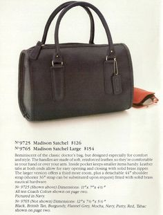 Vintage Coach Madison Satchel Style 9725 in Black - Made in New York City - Doctor Bag Style Purse Travel Handbags, Coach Handbags, Coach Purses, Coach Bags, Vintage Coach, Vintage Bags, Vintage Handbags, Bags Online Shopping, Online Bags
