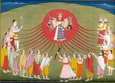The Birth of Durga.  At a single point, the energy of all the fires coalesced and became Shiva, in the form of a young woman. Her face was from the light of Shiva. Her ten arms were from Lord Vishnu. Her legs were from Lord Brahma. The dispossessed gods were drawn to Durga. They praised her and gave to her their divine gifts: Pinakadhrik gave Her a trident. Krishna gave her a disc. Varuna, the sea, gave her a conch and the god of fire gave her a missile.