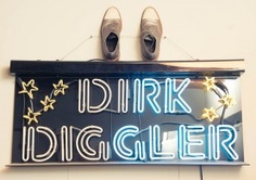 Dirk Diggler sign from Boogie Nights at Christopher Garkinos' home by The Coveteur (2013)