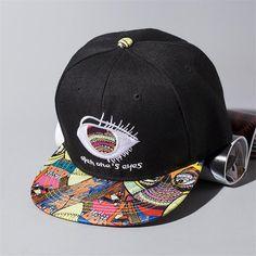 9882c1aeb8c Fashion Funny Unisex Doodle Snapback Caps Cool Man Woman One Eye Hip Hop  Hats Black Cute Cartoon Dancing Bone Aba Reta Snap Back