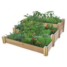 Gronomics 48 in. x 50 in. x 19 in. Multi-Level Rustic Raised Garden Bed-MLRRGB 48-50 - The Home Depot