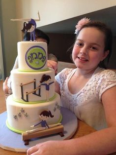 Gymnastic cake for Maesyn Wall Wall Rose Matthews Gymnastics Cakes, Gymnastics Birthday, Fondant Cakes, Cupcake Cakes, Gym Cake, Sports Themed Cakes, Sport Cakes, Specialty Cakes, Novelty Cakes