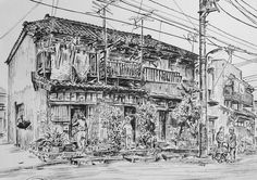 Artist - Itsuo Kiritani   Title - Wooden Apartment, Kyojima 3 Chome (長屋、京島3丁目)  Dimensions - (24.2cm x 34cm)Year - 1999  Media - Pen and Ink on Paper   Exhibition - ANA InterContinental Tokyo  Nov. 9, 2015 - Feb. 9, 2016     Inquiry