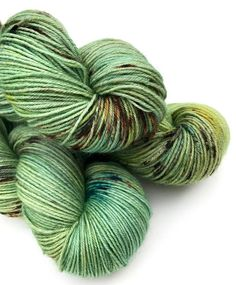 Hand Dyed Yarn Frog on a Log Green Yellow Blue
