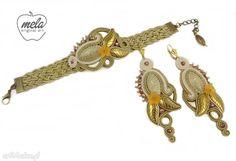 Impostare treccia madano orecchini braccialetto d'oro set di mela