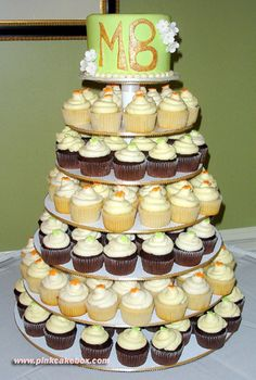 I love this idea for any occasion.  One small cake to cut into and cupcakes for everyone...the perfect portion and no worries about missing out on the action....