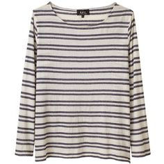 A.P.C. Fancy Mariniere Tee (1,495 MXN) ❤ liked on Polyvore featuring tops, t-shirts, sweaters, shirts, long sleeve shirts, striped t shirt, striped tee, dressy t shirts and striped boatneck tee